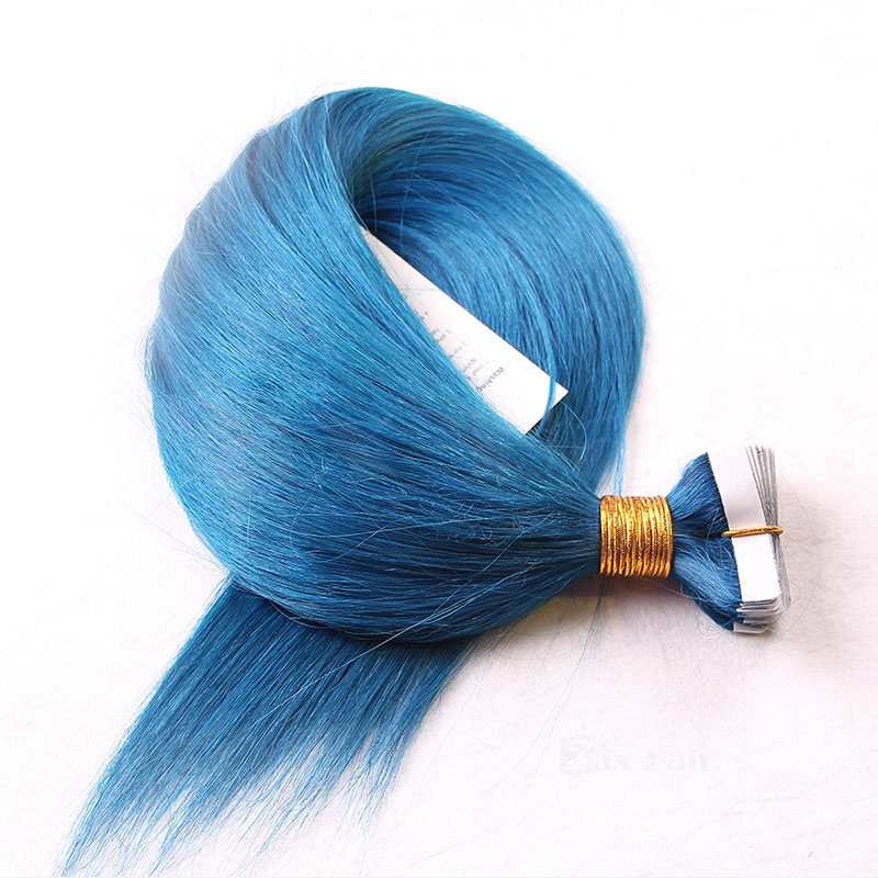 10 - 30 Inch Tape In Remy Human Hair Extensions Blue Straight 20 Pcs 2