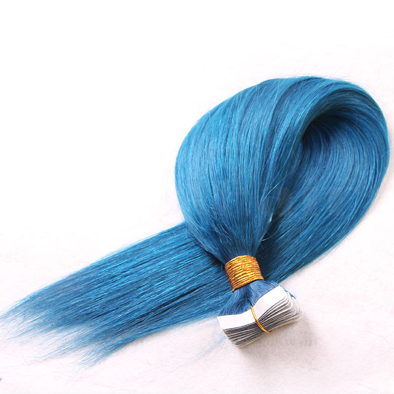 10 - 30 Inch Tape In Remy Human Hair Extensions Blue Straight 20 Pcs 3