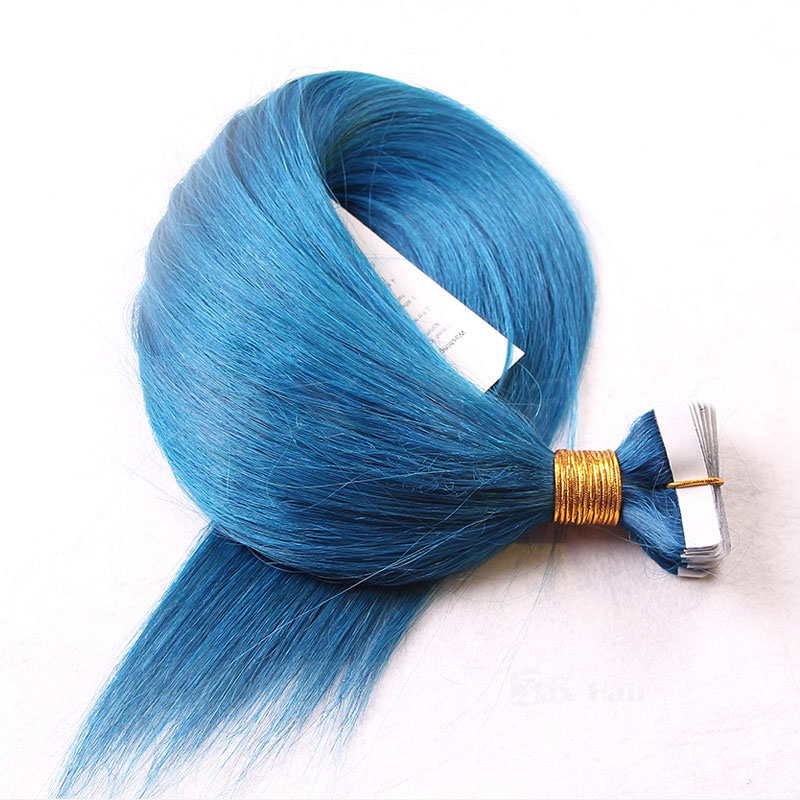 10 - 30 Inch Tape In Remy Human Hair Extensions Blue Straight 20 Pcs 4