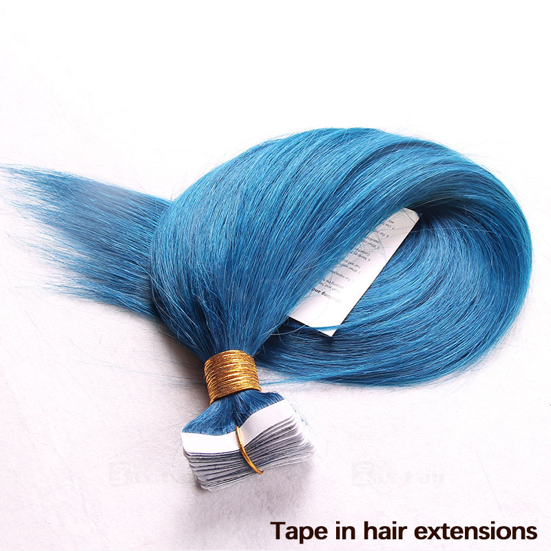 10 - 30 Inch Tape In Remy Human Hair Extensions Blue Straight 20 Pcs 5