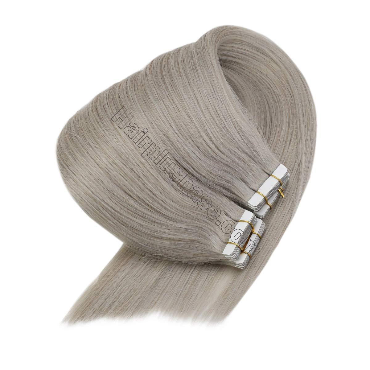 10 - 30 Inch Tape In Remy Human Hair Extensions Grey 20 Pcs 2