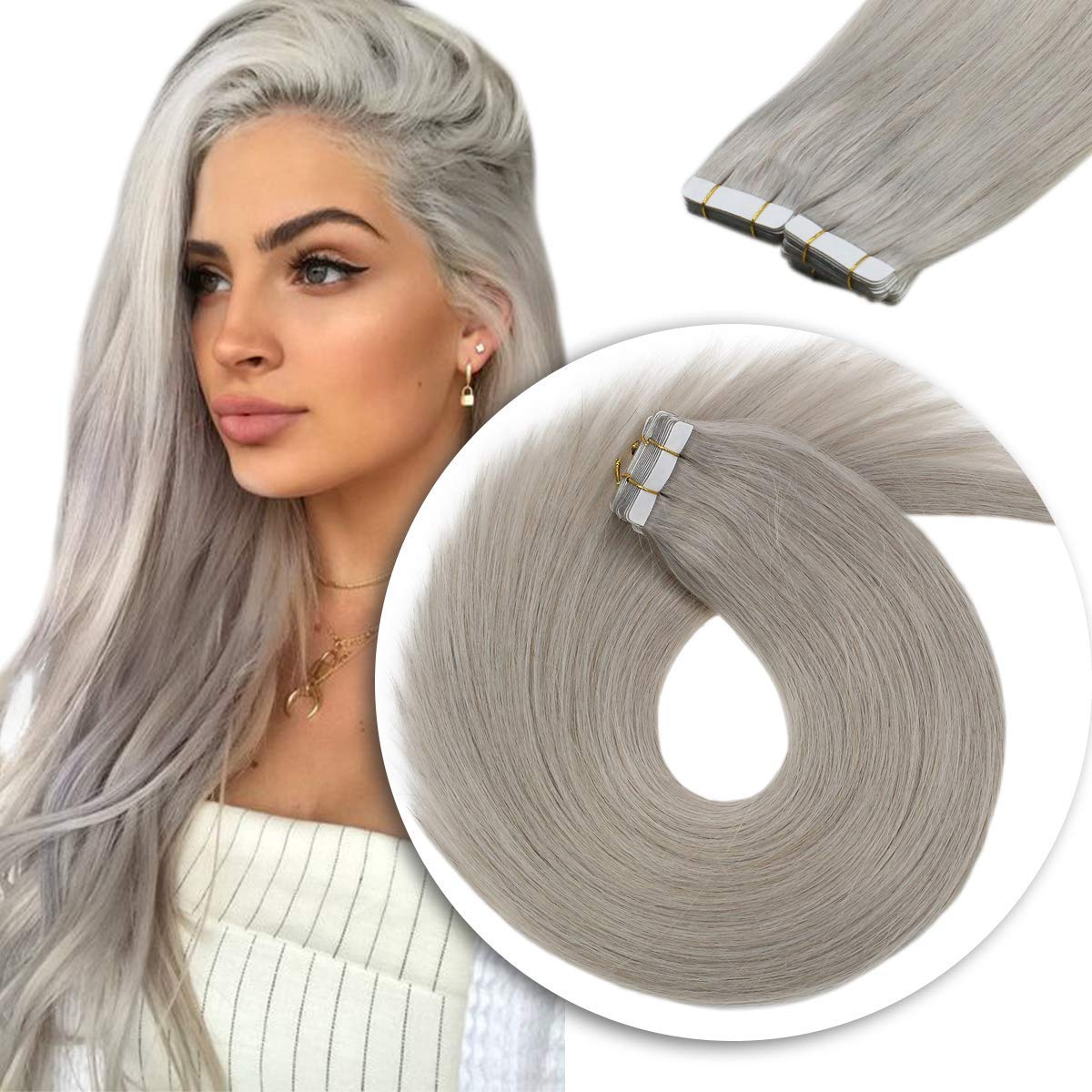 10 - 30 Inch Tape In Remy Human Hair Extensions Grey 20 Pcs 7