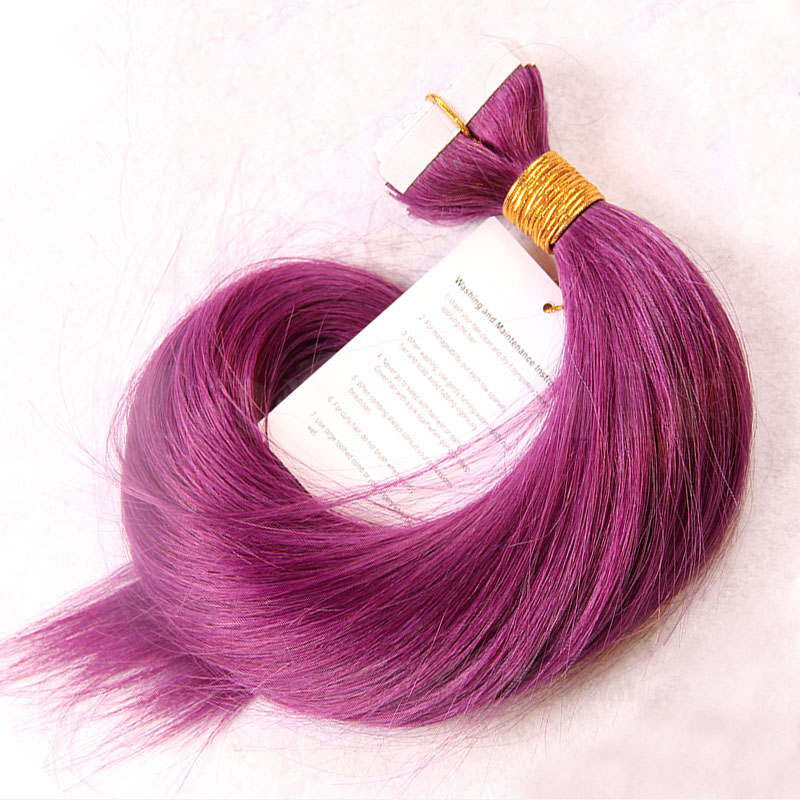 10 - 30 Inch Tape In Remy Human Hair Extensions Purple Straight 20 Pcs 0