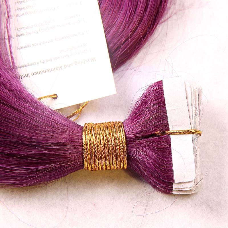 10 - 30 Inch Tape In Remy Human Hair Extensions Purple Straight 20 Pcs 1