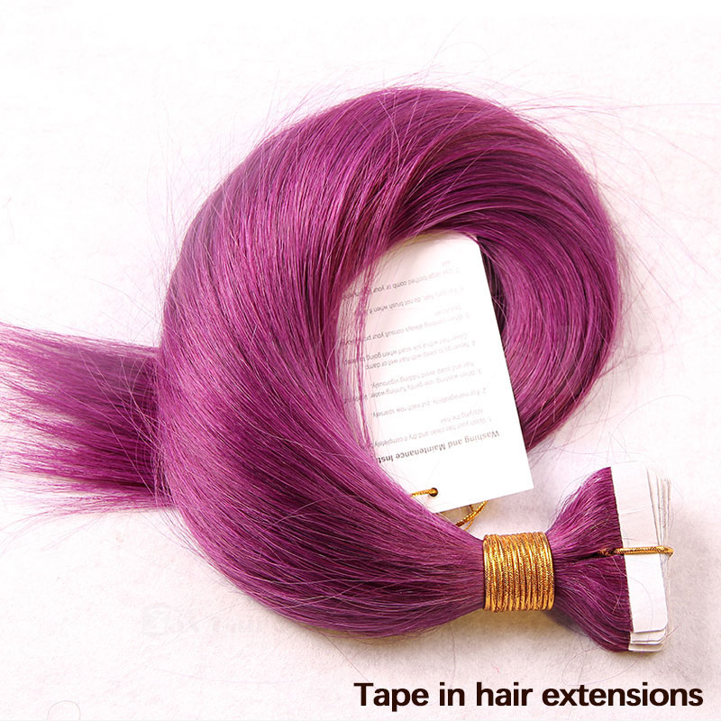 10 - 30 Inch Tape In Remy Human Hair Extensions Purple Straight 20 Pcs 2