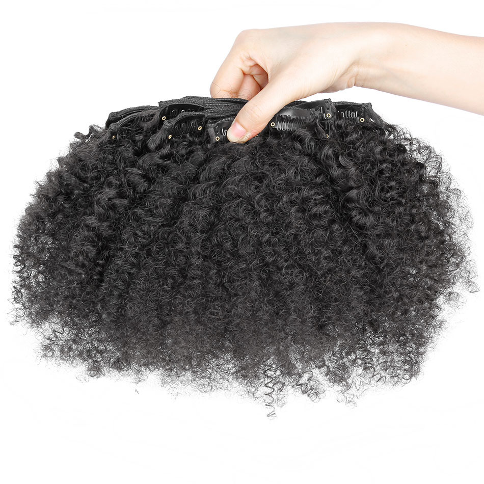 16 32 Inch Brazilian Virgin Kinky Curly Clip In Human Hair