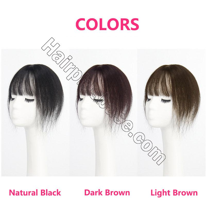 10 Inch Hair Toppers with Bangs Human Hair Extension Clip in Top Crown Hairpieces for Thinning Hair 2