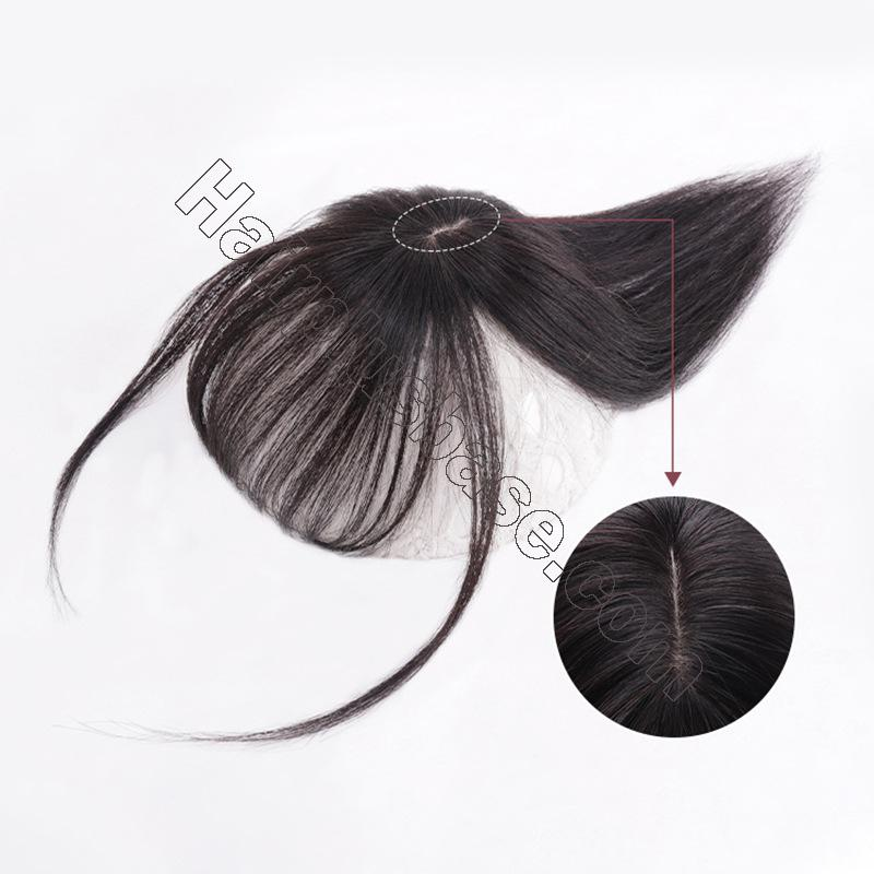10 Inch Hair Toppers with Bangs Human Hair Extension Clip in Top Crown Hairpieces for Thinning Hair 4
