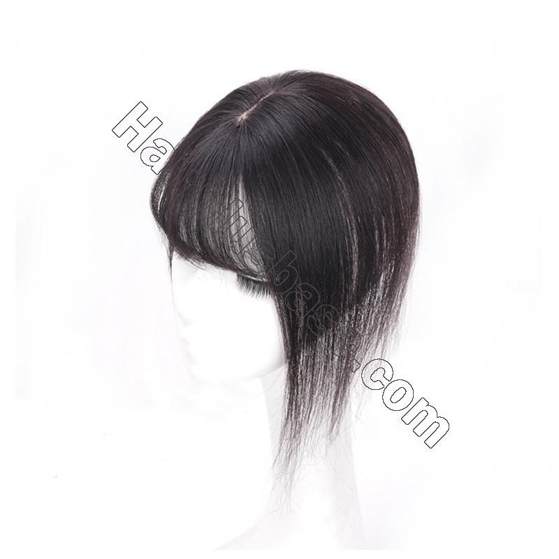 10 Inch Hair Toppers with Bangs Human Hair Extension Clip in Top Crown Hairpieces for Thinning Hair 5