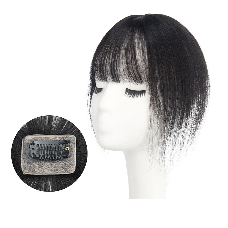 10 Inch Hair Toppers with Bangs Human Hair Extension Clip in Top Crown Hairpieces for Thinning Hair 7