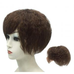 """10"""" Natural Curly Top Wiglet Hairpieces Clip in Thick Crown Topper with Bangs for Women"""
