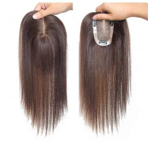 10 x 12cm Mono and PU Real Human Hair Hairpiece for White and Thin Hair, Clip in Crown Toppers for Women