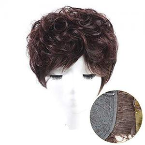 """100% Real Human Hair Crown Toppers 5"""" x 5.5"""" Short Curly Clip in Top Hairpiece Wiglet for Women"""