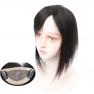 """100% Real Human Hair Forehead Bangs 2.4"""" x 4.7"""" Hand Tied Mono Base Clip on Bang Hair Extensions Hairpieces for Women"""