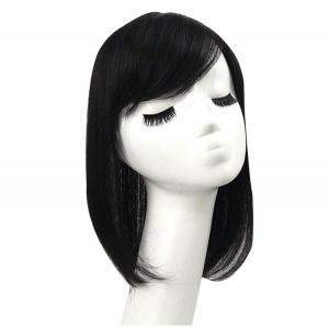 100% Real Human Hair Toppers with Side Bangs, Clip in Toupee Top Wiglet Haipieces for Women