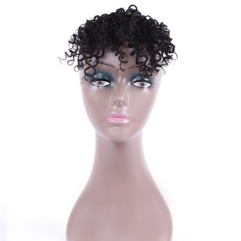 8 Inch 100% Human Hair Bangs Clip in Afro Kinky Curly Fringe Hair Piece Hair Extensions