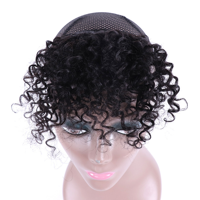 8 Inch 100% Human Hair Bangs Clip in Afro Kinky Curly Fringe Hair Piece Hair Extensions 2