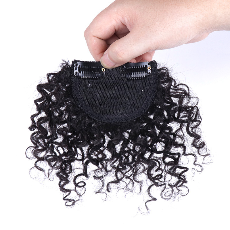 8 Inch 100% Human Hair Bangs Clip in Afro Kinky Curly Fringe Hair Piece Hair Extensions 4