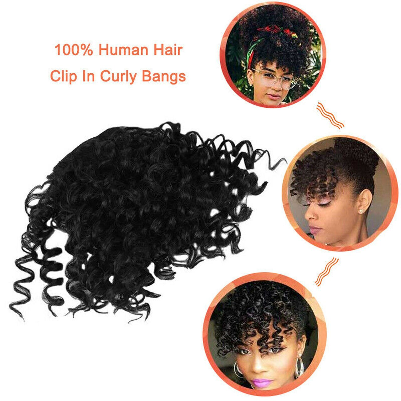 8 Inch 100% Human Hair Bangs Clip in Afro Kinky Curly Fringe Hair Piece Hair Extensions 6