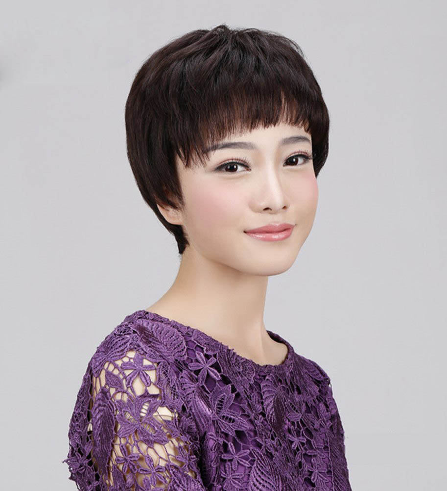 100% Human Hair Female Short Straight Hair Oblique Bangs Natural Lifelike