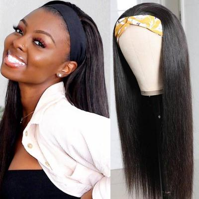 100% Human Hair Headband Wig Straight Scarf Wigs Real Hairline for Women