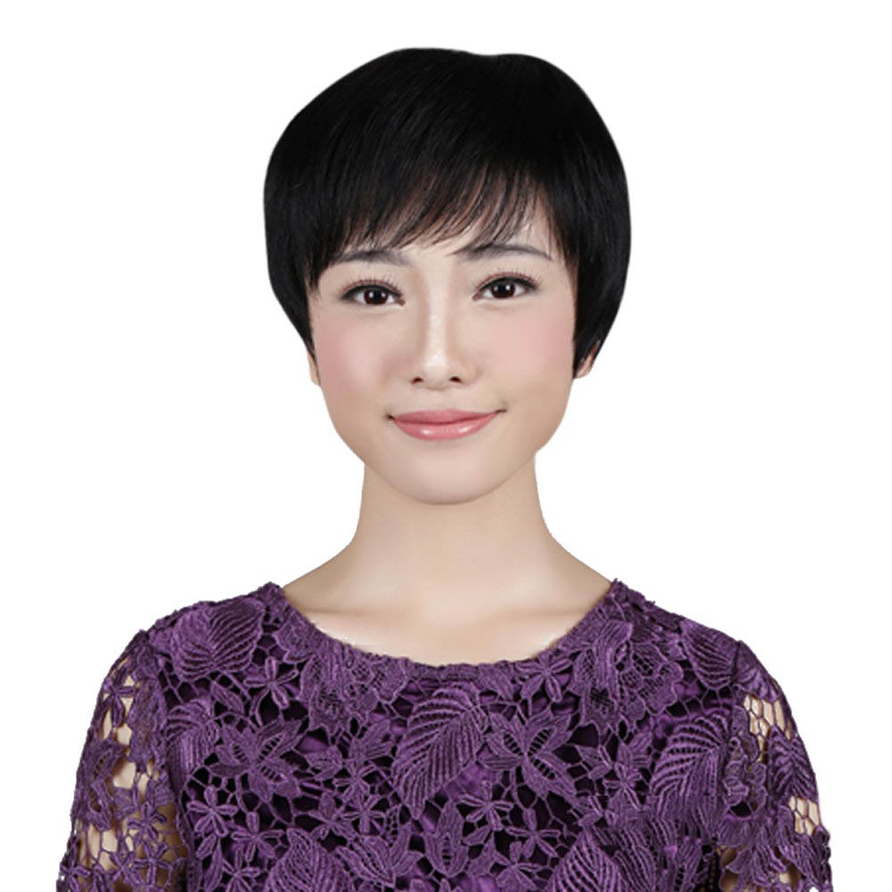 100% Human Hair Straight Short Oblique Bangs Wig Natural Vivid Hair For Woman