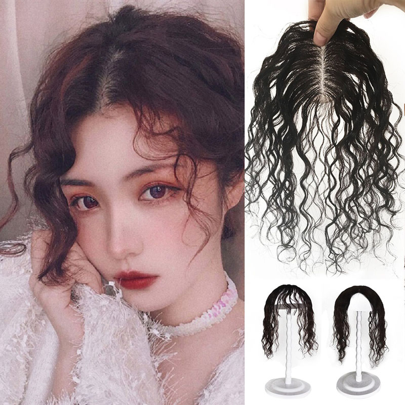 100% Human Hair Topper Curly Toupee Hairpiece Clip In Top Crow Women Replacement 25cm