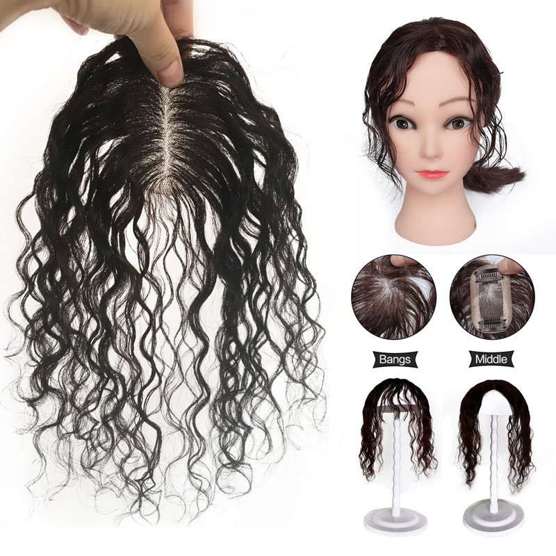 100% Human Hair Topper Curly Toupee Hairpiece Clip In Top Crow Women Replacement 25cm 3