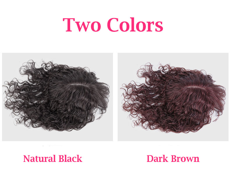 100% Human Hair Toppers with Bangs for Women Curly Clip On Hair Topper for Thinning Hair 2