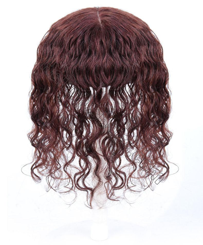 100% Human Hair Toppers with Bangs for Women Curly Clip On Hair Topper for Thinning Hair 4