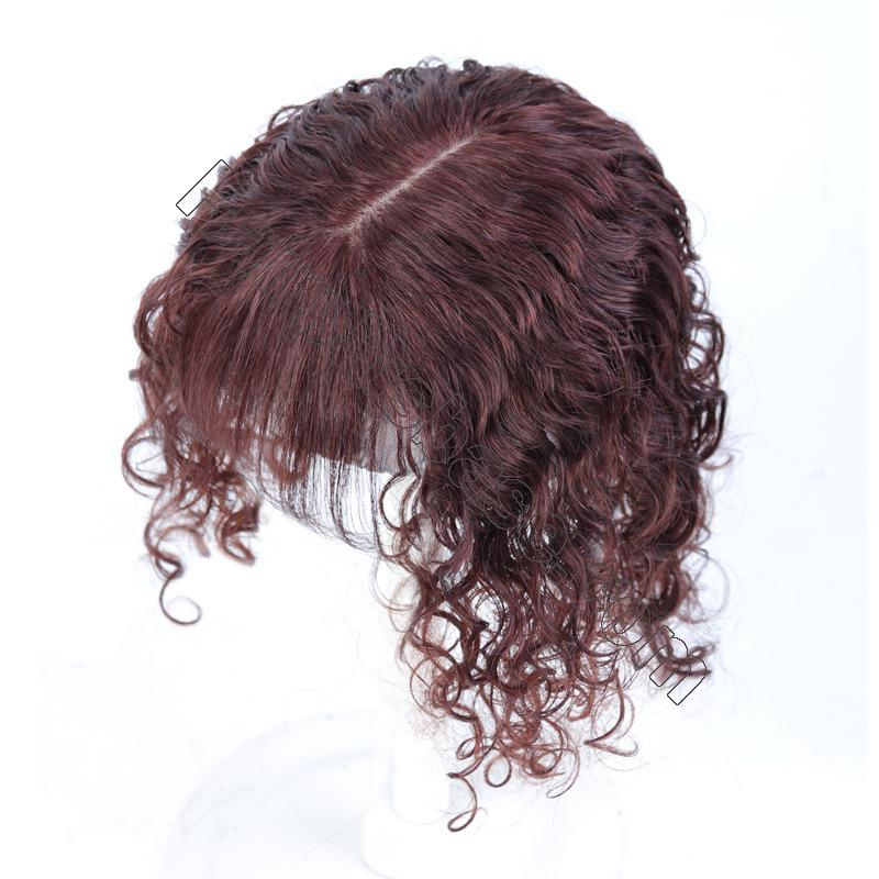 100% Human Hair Toppers with Bangs for Women Curly Clip On Hair Topper for Thinning Hair 6
