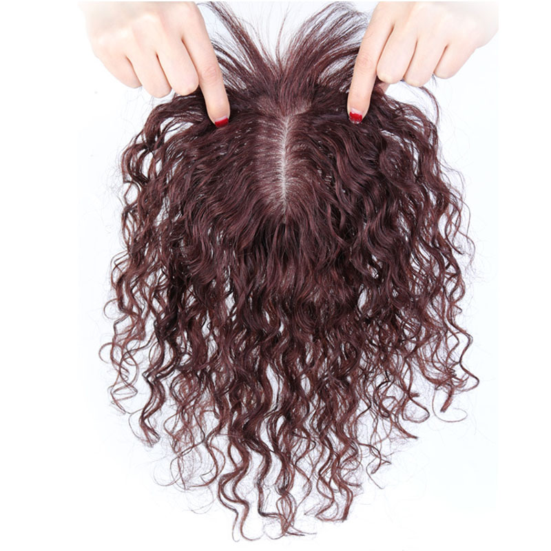100% Human Hair Toppers with Bangs for Women Curly Clip On Hair Topper for Thinning Hair 9