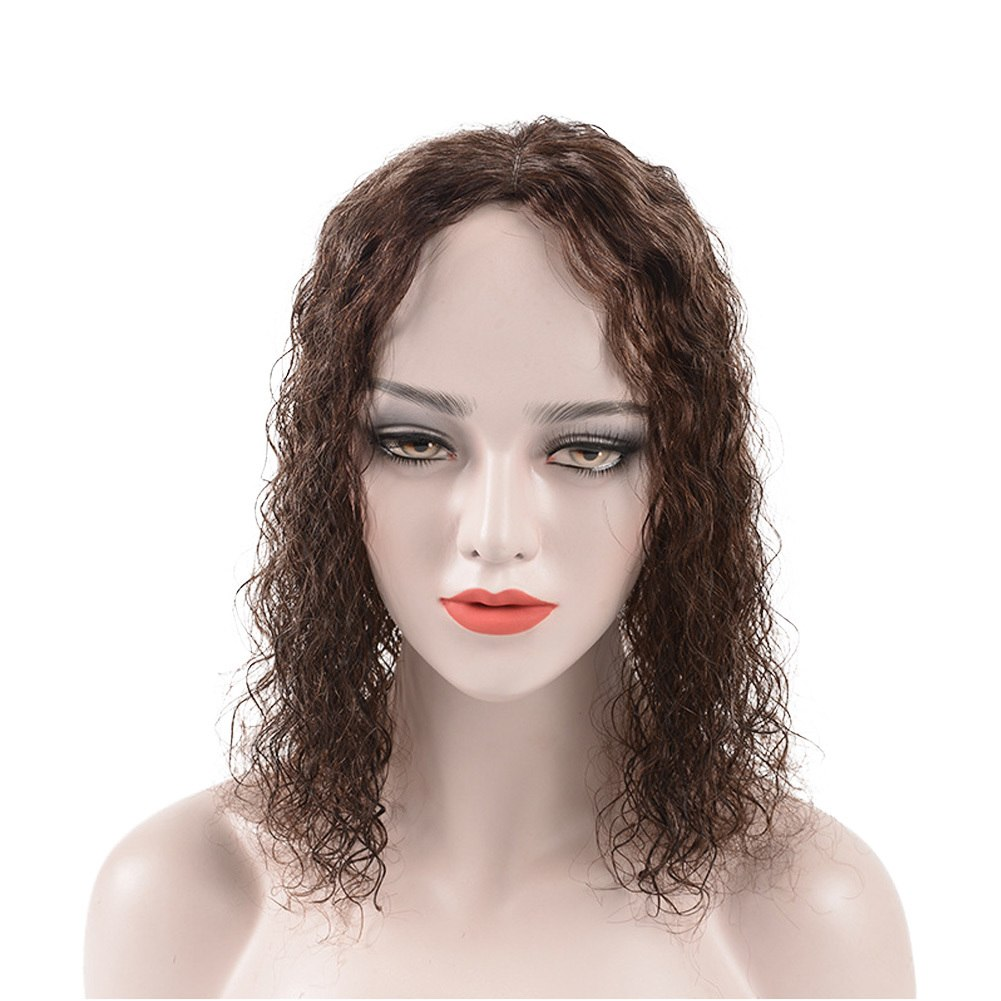 100% Human Hair Toupee Crown Wig