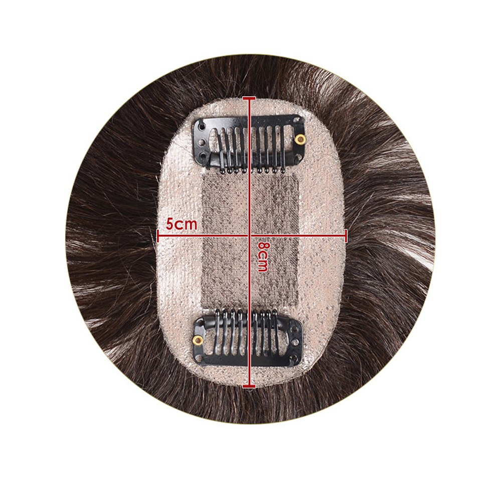 100% Human Hair Toupee Crown Wiglet HairPiece  Net Breathable Light And Thin Curly Hair Topper For Loss Hair Cover White Hair 5*8cm 3