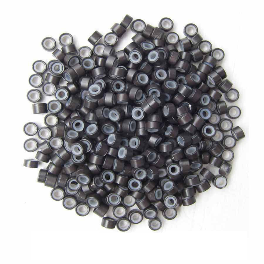 1000pcs Dark Brown Aluminium Silicone Beads for Hair Extensions