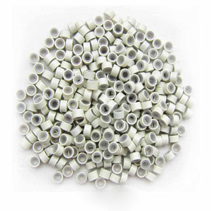 1000pcs White Aluminium Silicone Beads for Hair Extensions