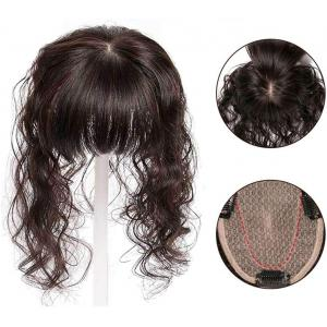10x12CM Silk Base Real Human Hair Topper with Bangs for Women Curly Clips in Top Hairpieces