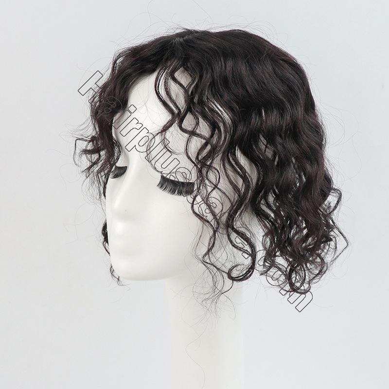 11 Inch Curly Clip in Human Hair Topper with Curtain Bangs Silk Base Crown Top Hairpieces 3