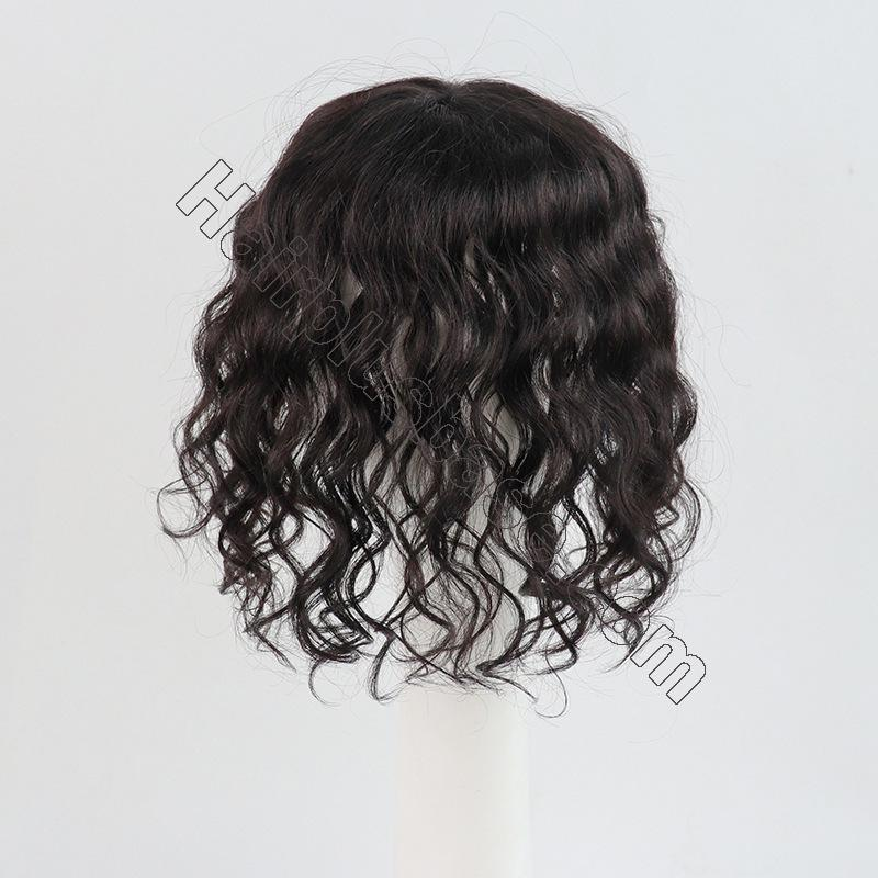 11 Inch Curly Clip in Human Hair Topper with Curtain Bangs Silk Base Crown Top Hairpieces 4