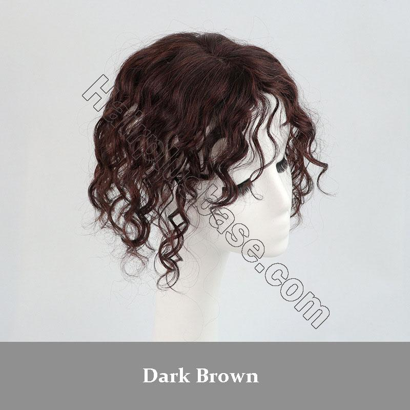 11 Inch Curly Clip in Human Hair Topper with Curtain Bangs Silk Base Crown Top Hairpieces 5
