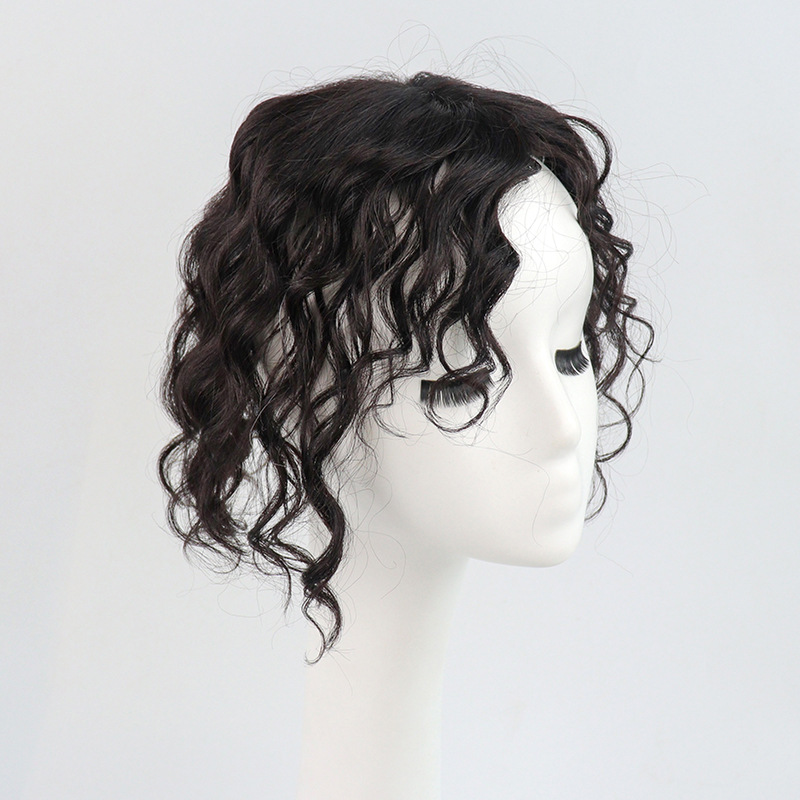 11 Inch Curly Clip in Human Hair Topper with Curtain Bangs Silk Base Crown Top Hairpieces 7