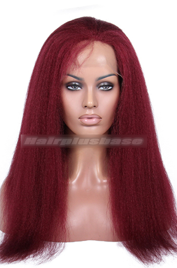 18 Inch #118 Red Kinky Straight Brazilian Virgin Hair Glueless Lace Front Wigs