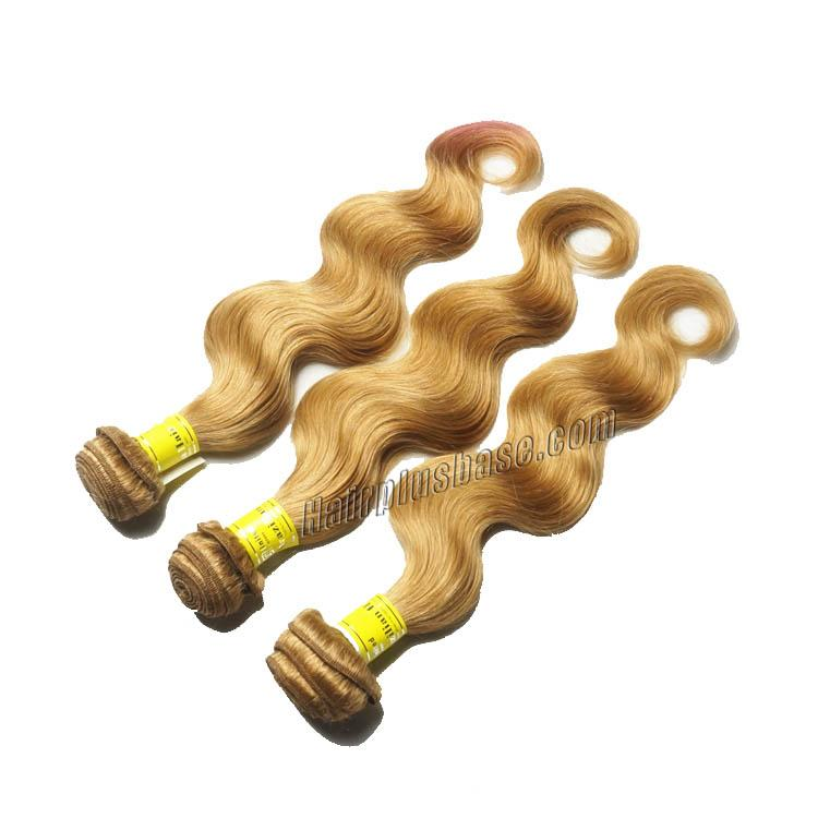 "12"" - 34""  Brazilian Remy Hair Body Wave #27 Strawberry Blonde 1pc/Lot Or 3pcs/Lot no 2"