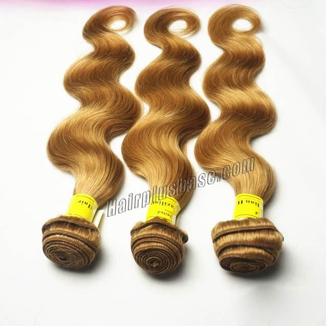 "12"" - 34""  Brazilian Remy Hair Body Wave #27 Strawberry Blonde 1pc/Lot Or 3pcs/Lot no 3"