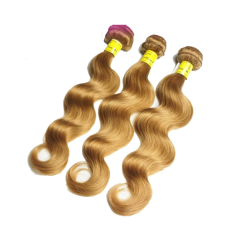 "12"" - 34""  Brazilian Remy Hair Body Wave #27 Strawberry Blonde 1pc/Lot Or 3pcs/Lot"