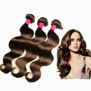 "12"" - 34"" Brazilian Remy Hair Body Wave #4 Medium Brown Hair Wefts"
