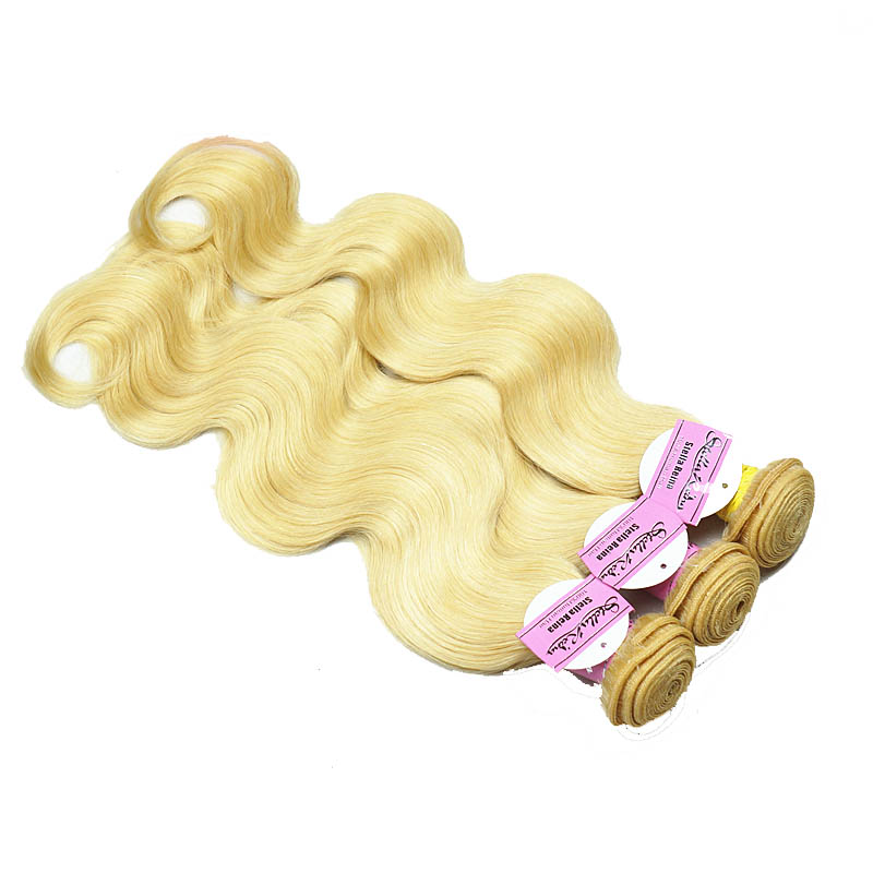 "12"" - 34"" Brazilian Remy Hair Body Wave #613 Bleach Blonde Different Hair Weft Sets"