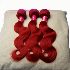 "12"" - 34"" Brazilian Remy Hair Body Wave Passional Red Hair Weft Sets"