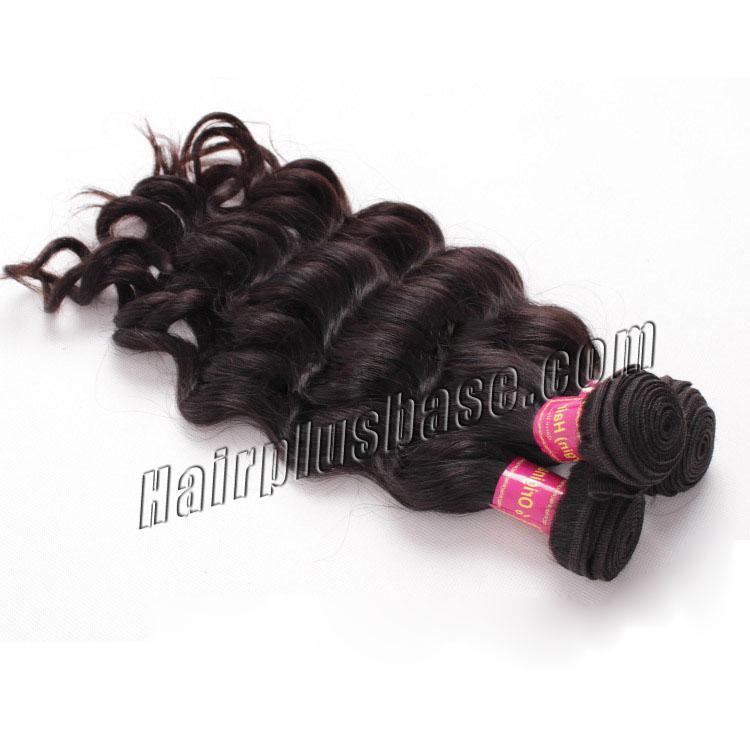 "12"" - 34"" Brazilian Virgin Hair Loose Wavy #1B Natural Black 1pc/3pcs no 1"