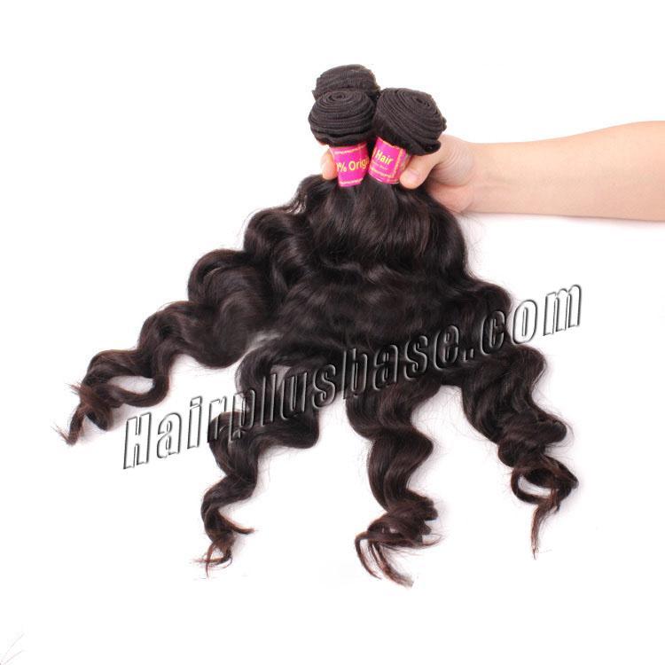"12"" - 34"" Brazilian Virgin Hair Loose Wavy #1B Natural Black 1pc/4pcs no 1"